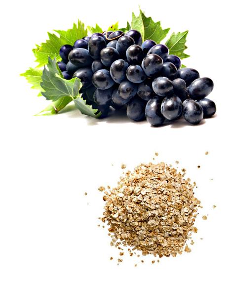 ингредиенты питательной маски для рук из винограда и геркулеса