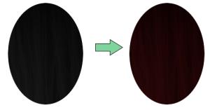 хна на черных волосах